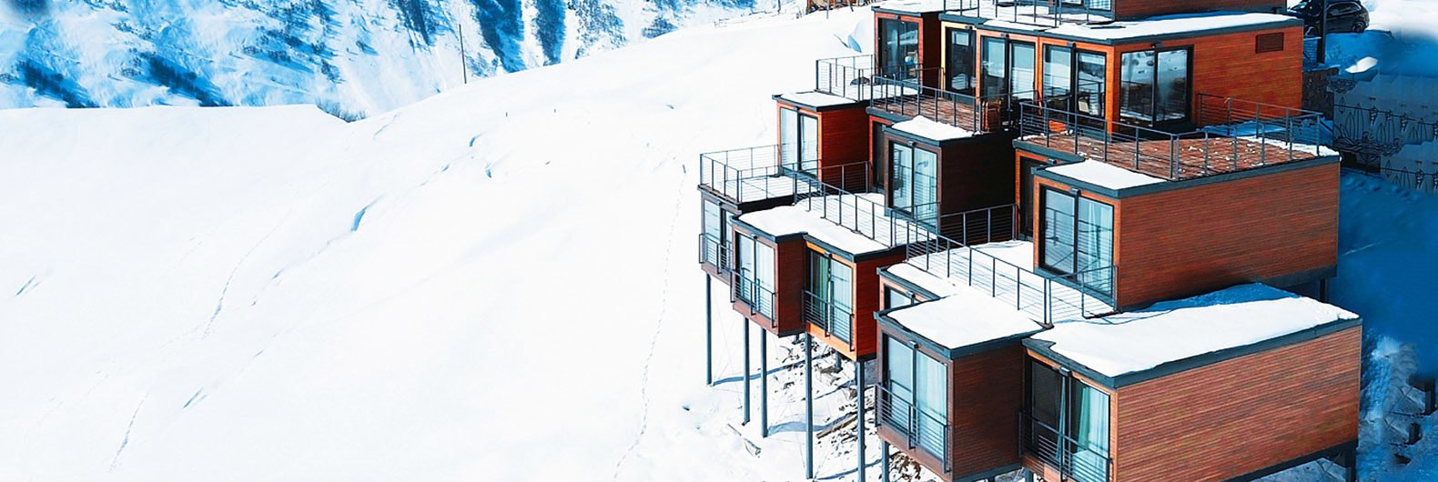 This gorgeous shipping container ski resort is tucked into a