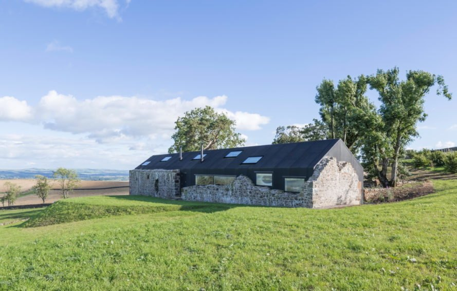 Ruin Studio by Nathanael Dorent Architecture and Lily Jencks Studio, adaptive reuse farmhouse, Scottish passivhaus, farmhouse ruins turned into modern home, Ruin Studio in Scotland,