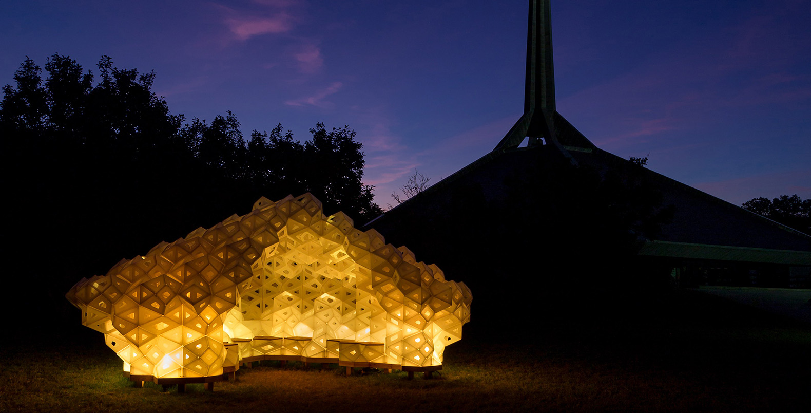 Spectacular origami pavilion made of recycled plastic pops up in Columbus, Indiana