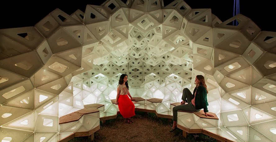 Synergia pavilion, temporary structure, temporary pavilion, origami, IU School of Art, Architectuare + Design, Jiangmei Wu, Eero Saarinen, lightweight structure, recycled plastic, green architecture, biomimetic design, LED lights