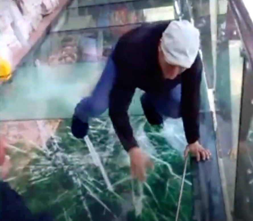 China, cracking, glass walkway, innovation, science, high-tech, prank, tourism,