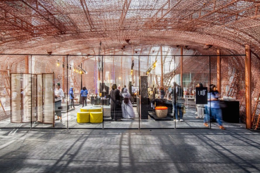 Abwab by Fahed + Architects, Dubai Design Week 2017, Fahed + Architects Dubai Design Week, recycled bedspring architecture, bedspring pavilion, Dubai Design Week pavilion