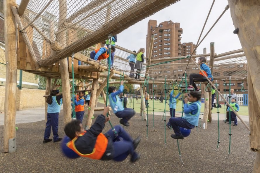 Ashburnham Community School playground by Foster + Partners, Ashburnham Community School Playground, Ashburnham Community School, London playground, multi sensory playground, playground design by Foster + Partners,