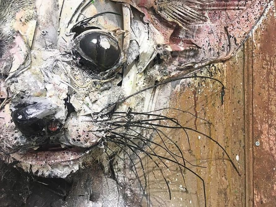 Attero, Attero by Bordalo II, Bordalo II, Artur Bordalo, Mistaker Maker, Lisbon, Portugal, art, artwork, street art, trash, garbage, waste, trash art, garbage art, waste art, exhibition, solo exhibition, art show
