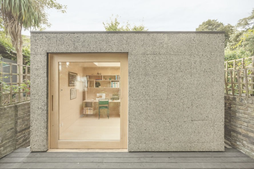 Cork Study by Surman Weston, Cork Study London, Cork Study workspace, London backyard studio, backyard writer's studio, cork clad architecture, wildflower sedum roof architecture