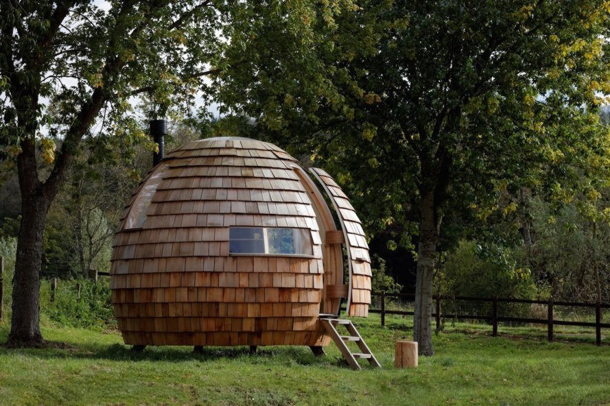 Escape Pod by Podmakers, Escape Pod prefab, prefabricated backyard studios, pop up work studios, cedar shingle spherical pod, prefab pod, prefab pod architecture