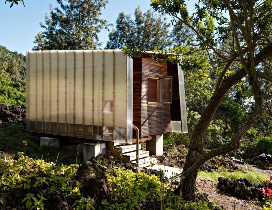 FLOAT architectural research and design, outside house, lava house, maui lava house, home design, maui architecture, Mauka house, Makai house, Makai pavilion, tiny cabins, cabin design, off grid living, maui off grid, sustainable living, sustainable home design, sustainable cabins