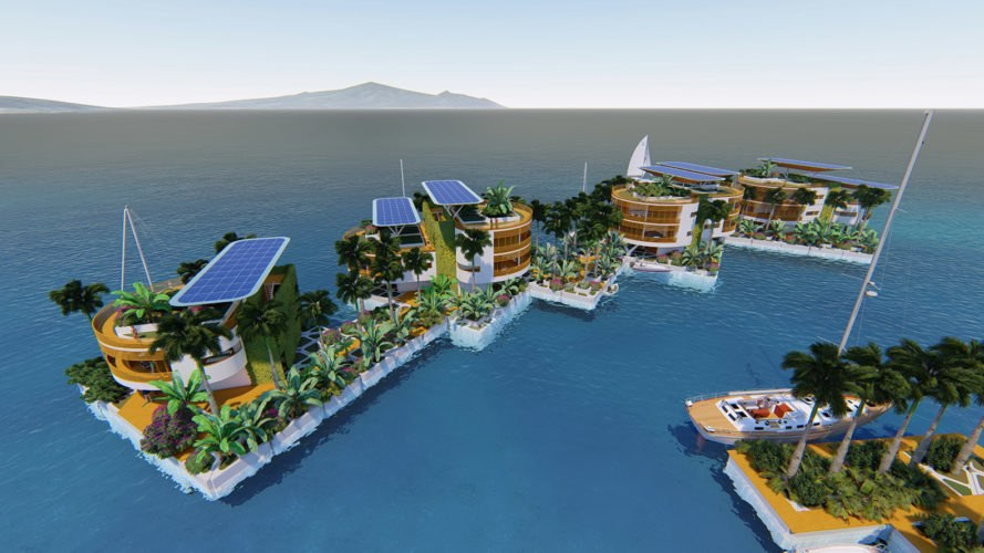 Seasteading Institute, Blue Frontiers, floating city, floating cities, floating, architecture, solar, solar panels