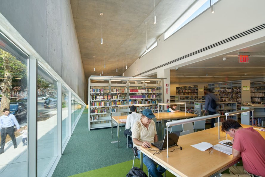 Kew Gardens Hill Library by Work Architecture Company, Kew Gardens Hill Library, Kew Gardens Hill Library Queens, green-roofed library, Queens green roof NYC, glass fiber reinforced concrete facade,