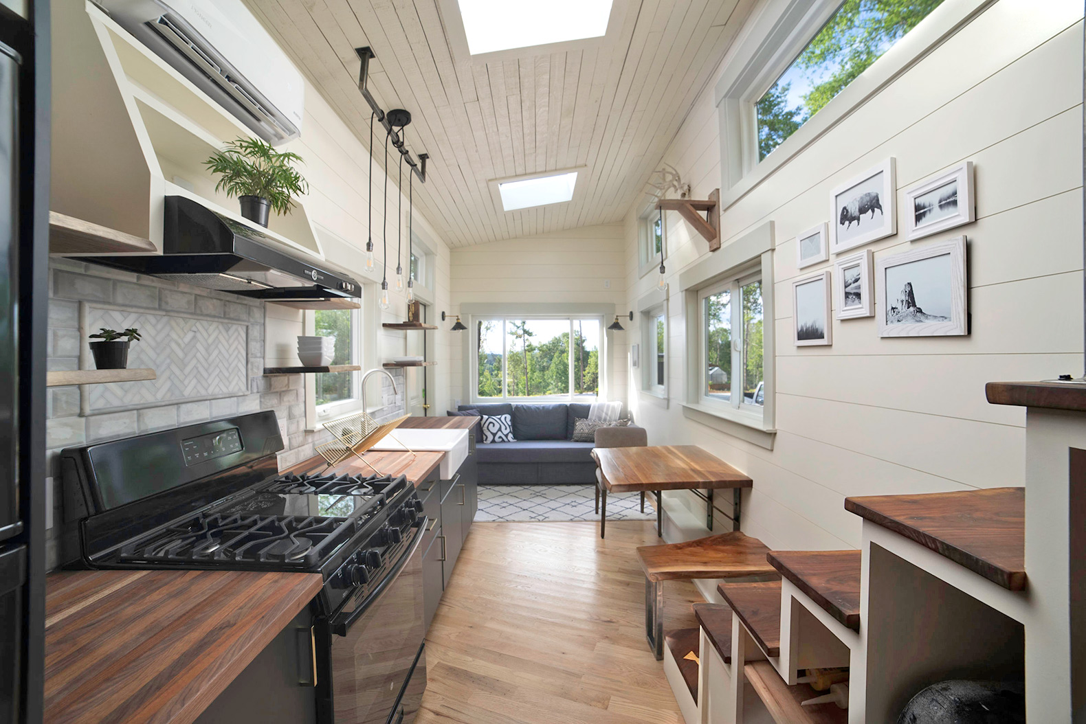 This light-filled tiny house is made almost entirely of reclaimed wood