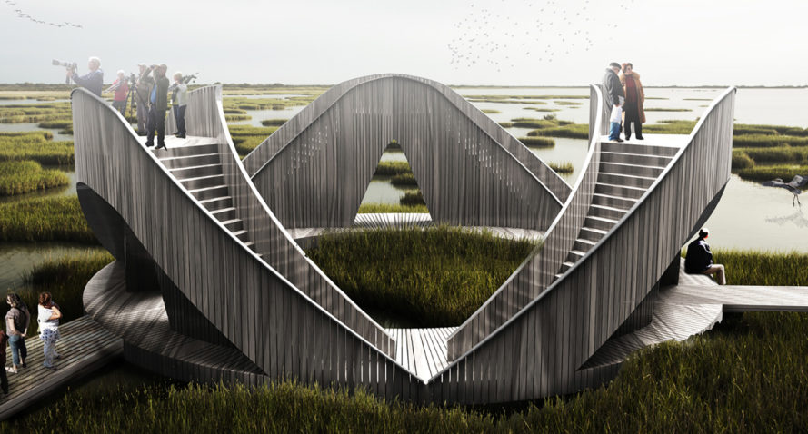 Lookout Loop, bird watching, observatory, Ulf Mejergren Architects, Latvia, nature park, wooden structure, temporary shelter, shelter, green architecture, Siberian larch