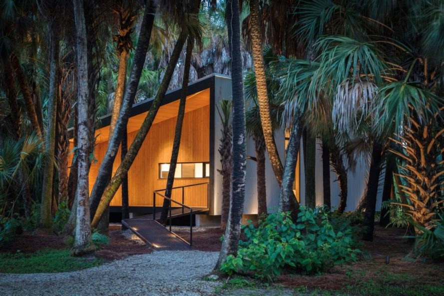 Mike's Hammock by Josh Wynne Construction, retirement cabin in Florida, design build tiny cabin, cabin for mobility limited, cabin in the woods fore retirement, salvaged materials in cabin, modern one-room cabin, Southern yellow pine construction