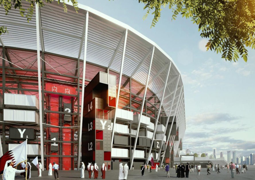 Ras Abu Aboud Stadium, Ras Abu Aboud Stadium Qatar, Qatar shipping container stadium, shipping container stadium, sustainable world cup stadium, Qatar stadium, cargotecture World Cup stadium, 2022 FIFA World Cup stadiums