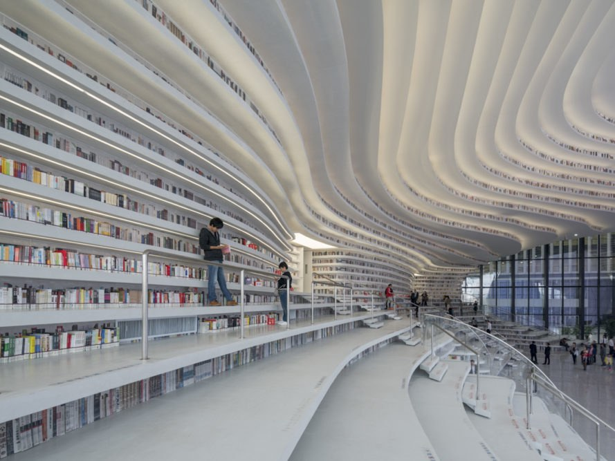 Tianjin Binhai Library by MVRDV, Tianjin Binhai Library, China public  library, futuristic libraries