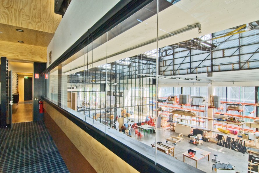 UTAS School of Architecture and Design by Six Degrees, UTAS School of Architecture by Sustainable Built Environments, UTAS School of Architecture adaptive reuse, architecture school adaptive reuse, Tasmania architecture school, train shed conversion, locomotive workshop