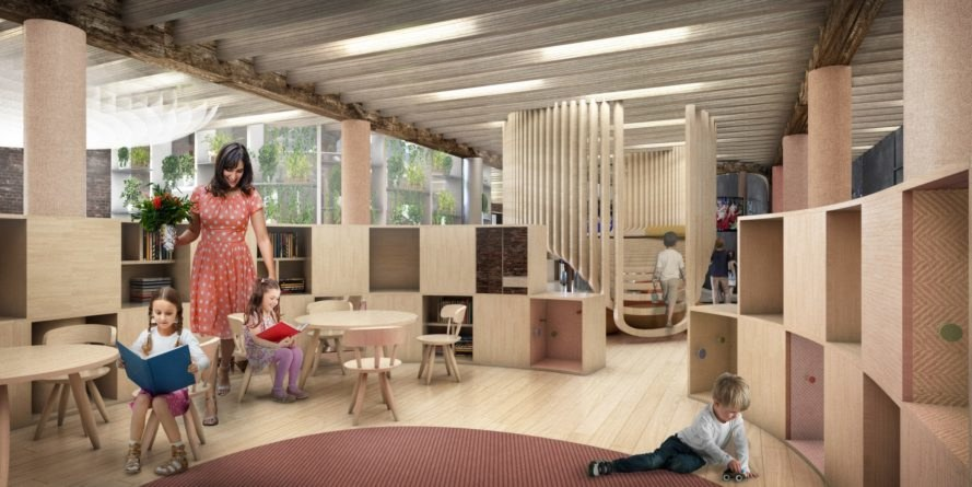 WeWork, kindergarten, school, WeGrow, New York City, Chelsea, co-working, treehouses, modular design, modular school, green architecture