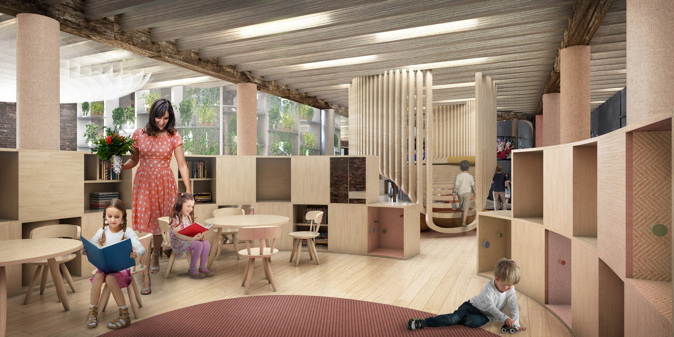Big and wework reveal plans for interactive wegrow for Big office design