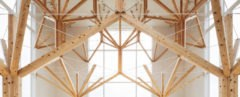 Agri Chapel by Yu Momoeda Architecture Office, Agri Chapel Nagasaki, modernist chapel, modernist chapel in Japan, Japanese catholic churches, timber fractal installation, fractal forest