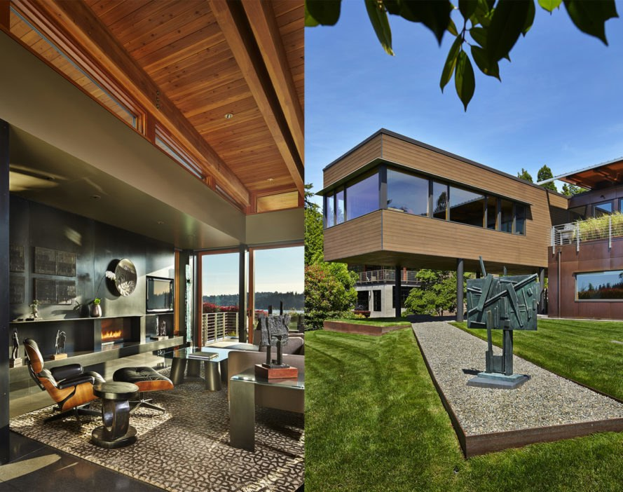Brook Bay Residence, Brook Bay Residence by Rick Sandberg, luxury housing in Mercer Island, copper clad homes, copper and cedar housing, local craftsmanship in American homes,