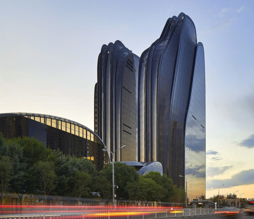 Chaoyang Park Plaza by MAD architects, Chaoyang Park Plaza, Beijing LEED Gold, LEED Gold projects in China, MAD Architects sustainable architecture, mountain-inspired architecture, shan shui inspired architecture, modern East Asian skyscrapers