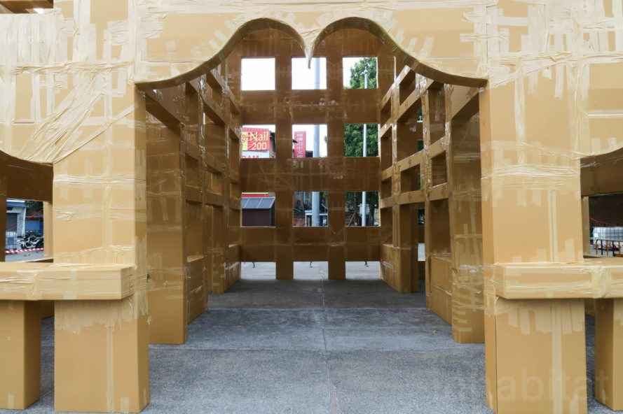 Cardboard temple by Olivier Grosstete, cardboard architecture by Olivier Grosstete, Olivier Grosstete Chiang Mai, Olivier Grosstete Thailand, Chiang Mai Design Week, Chiang Mai Design Week 2017, cardboard architecture, temporary cardboard architecture, TCDC Chiang Mai, ephemeral architecture