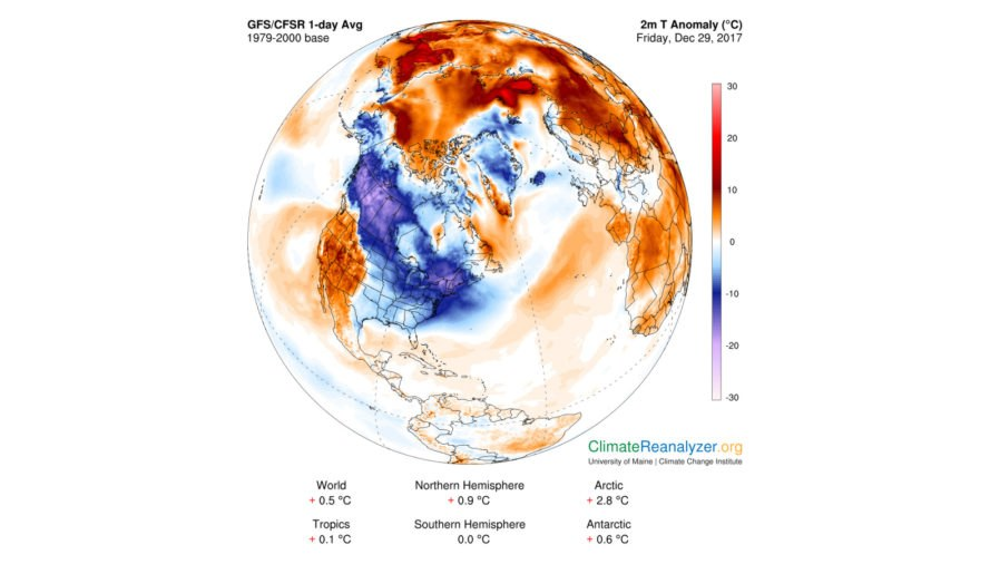 Climate Reanalyzer, map, maps, temperature anomaly, weather map, climate change, global warming, North America