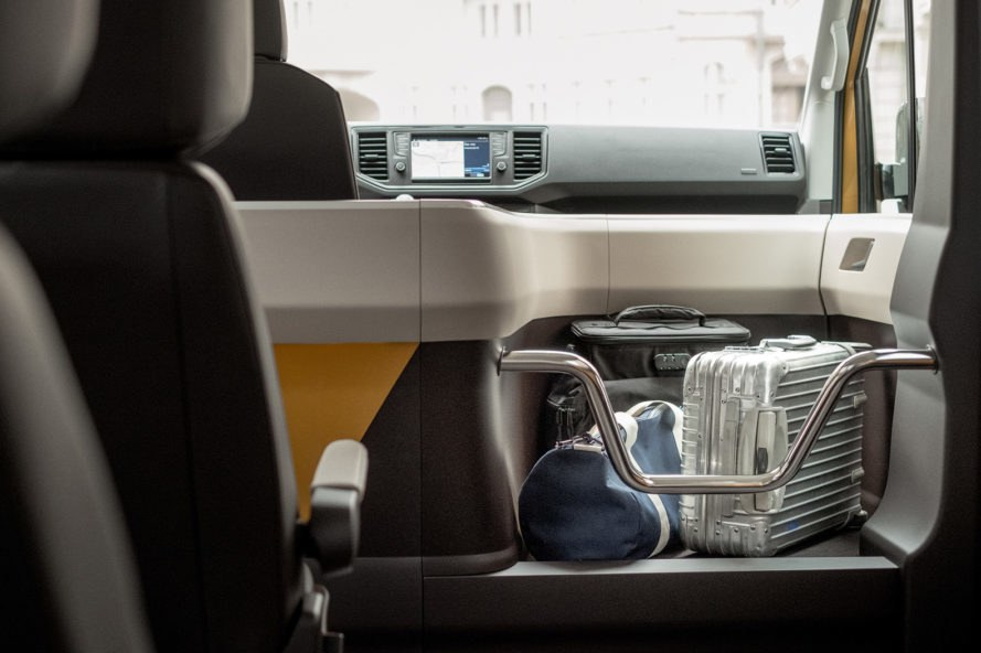 Moia, Volkswagen, Germany, rideshare, ridesharing, interior, luggage, bags