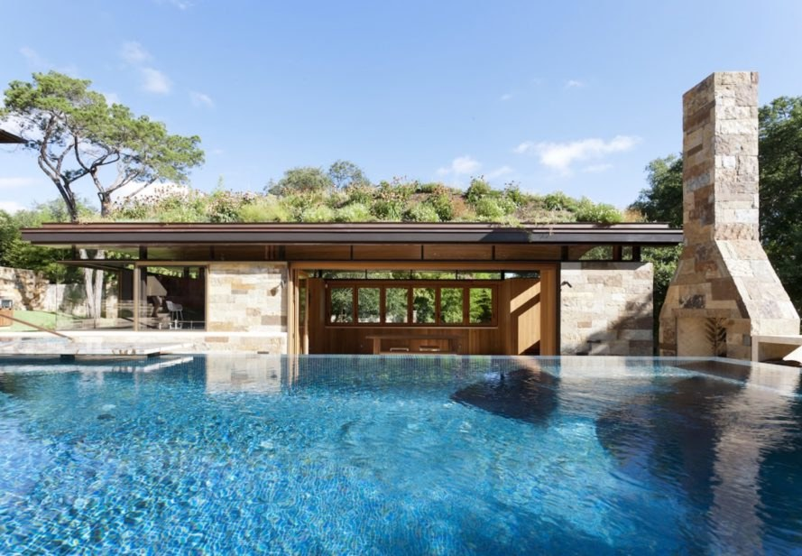 wildflower roof in Texas, City of West Lake Hills green roof, City of West Lake Hills pool house, modernist pool house, pool house architecture, green roofed pool house, wildflower green roof design, Texan pool house architecture, Texan green roof design