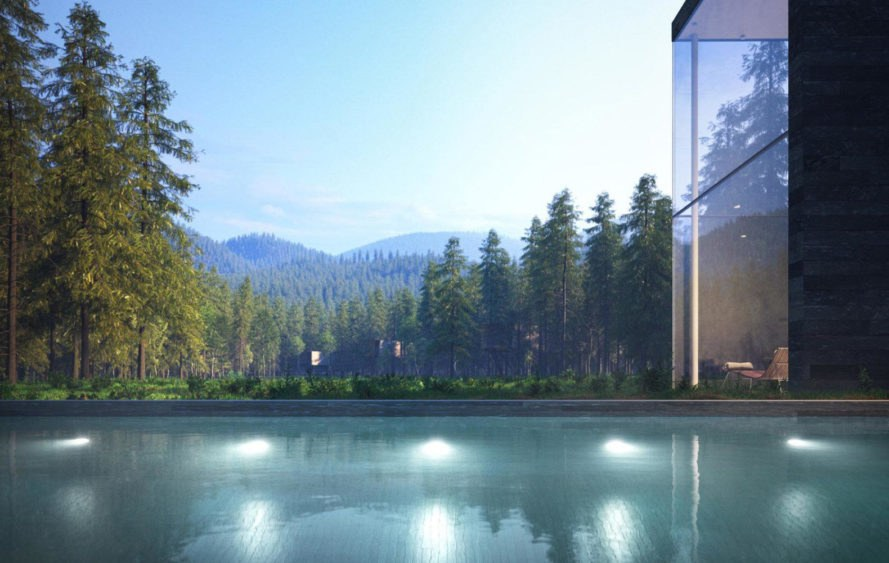 Revugia spa and wellness resort, eco-resort, Germany, Tidevand Bau, lichtecht, Matthias Arndt, green resort, natural materials, recreation, wood, stone, glass façade, minimalist design, minimalist