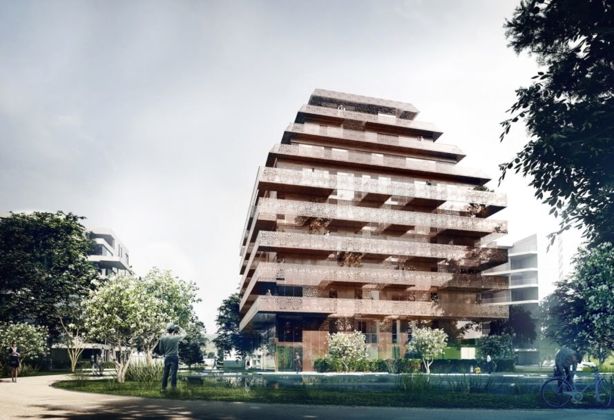 Ski Vest Tower by Reiulf Ramstad Arkitekter, Reiulf Ramstad Arkitekter Norway, Ski residences, Solon Eiendom Ski residential project, pinecone shaped architecture, perforated copper terraces, Ski Vest new residence