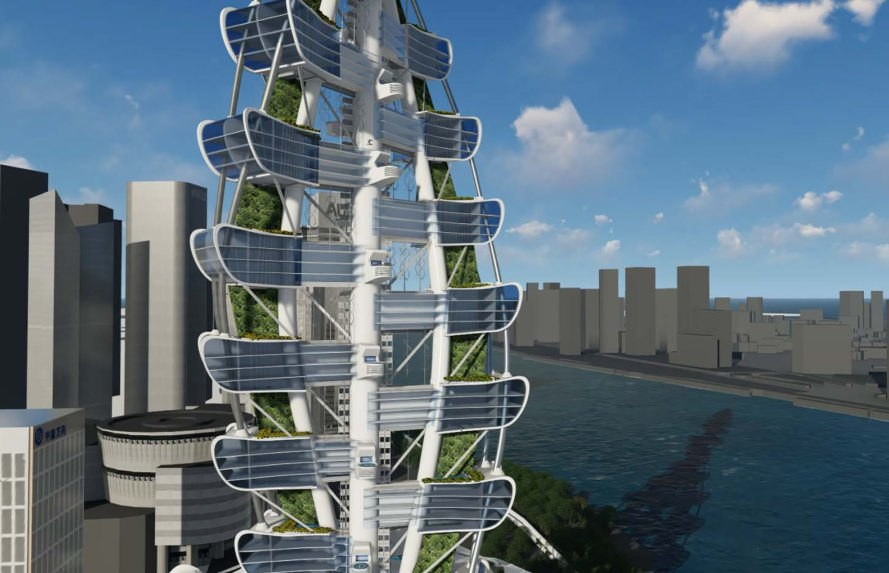 Smart Power Long, Power Long, Richard's Architecture + Design, Smart Power Long by Richard's Architecture + Design, Shanghai, drone car tower, net zero, vertical forest