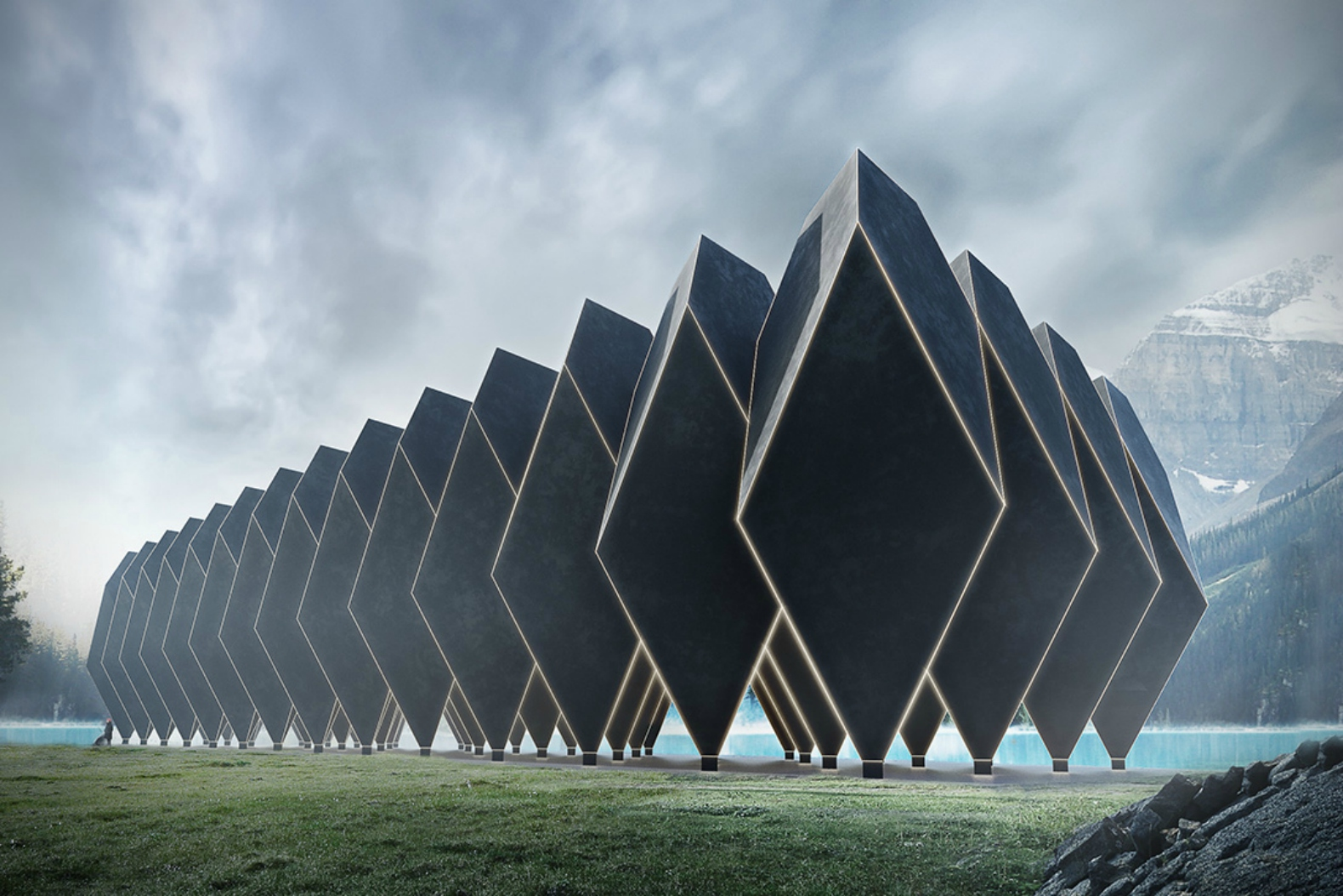 Diamond shaped timber pod hotel lets you vacation outside for Design hotel few steps from the david