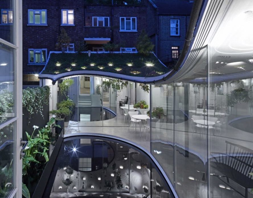 Tonkin Liu Architects, Sun rain room, home extensions, home design, sun rooms, home additions, London architecture, urban design, green roof, garden room, reflecting pool, home architecture, rain collection systems, rainwater use, greywater systems, green roof designs,