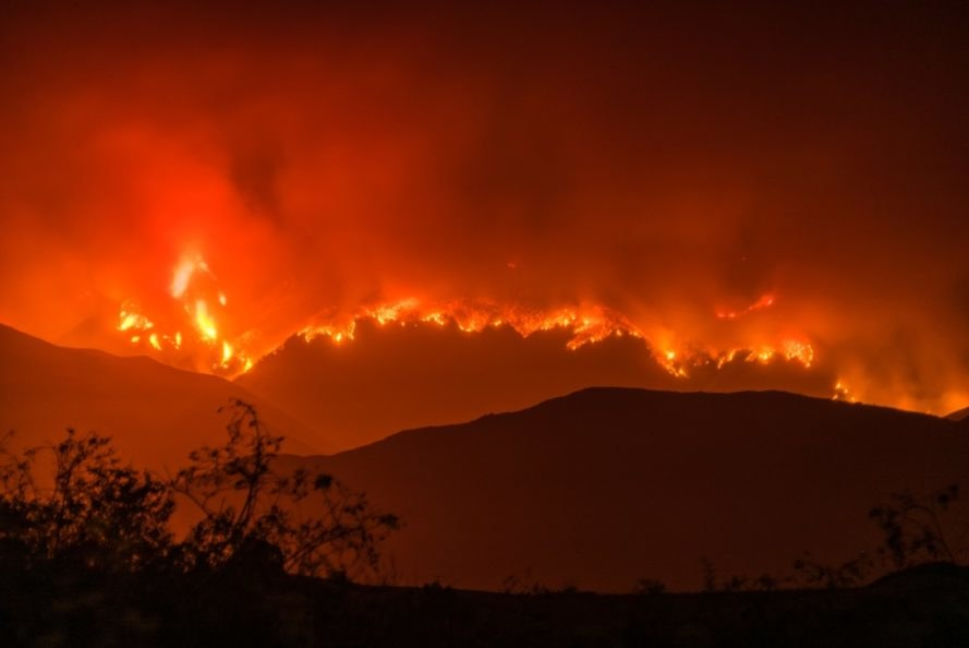 California wildfire, wildfire hills, wildfire in the hills, wildfire night