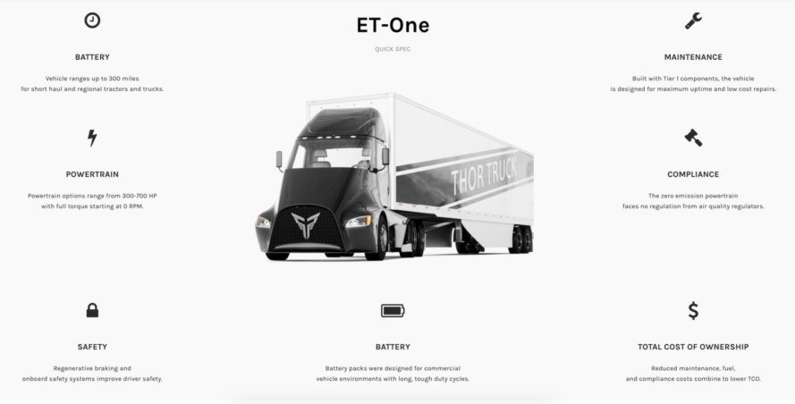thor trucks, Dakota Semler, ET-One, tesla competitors, electric semi truck, all electric trucks