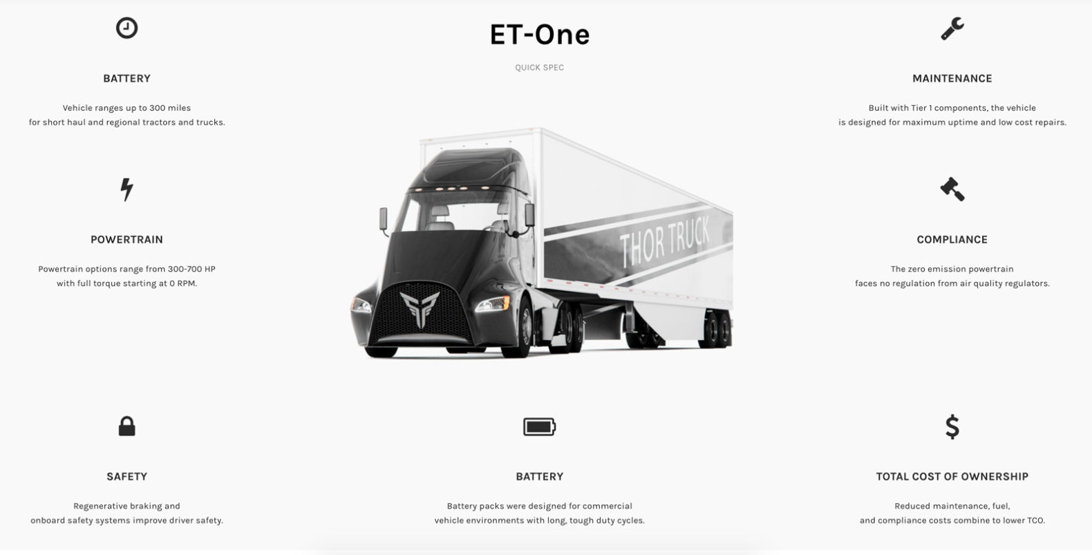 Thor Trucks Dakota Semler Et One Tesla Compeors Electric Semi Truck