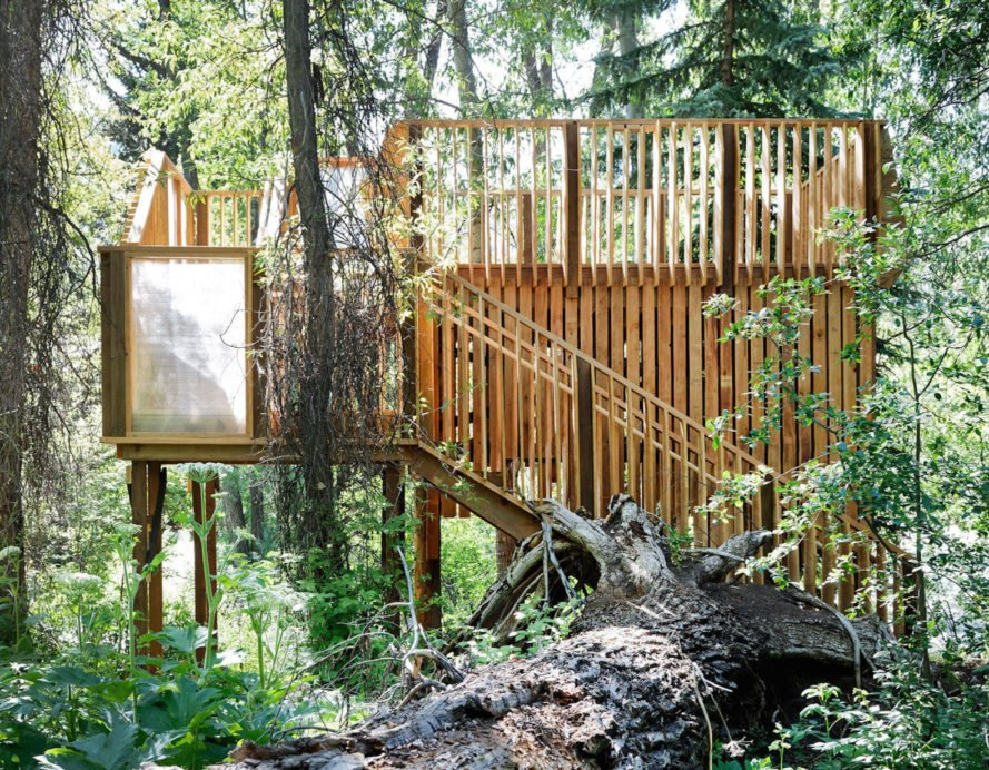 pro bono treehouse, ACES treehouse, ACES treehouse by Charles Cunniffe Architects, ACES treehouse by CCA, Aspen Center for Environmental studies treehouse, Hallam Lake treehouse, Aspen treehouse, CNC milled timber treehouse, plywood wildlife observation platform