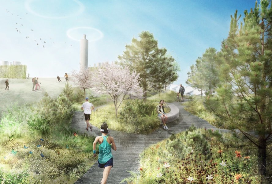 Amager Bakke Rooftop Park by SLA, Amager Bakke Waste to energy plant by SLA, Amager Bakke Waste to energy plant by BIG, ski slopes trash incinerator, waste to energy facility green roof, copenhagen green roof, Copenhagen ski slopes, Copenhagen biodiversity
