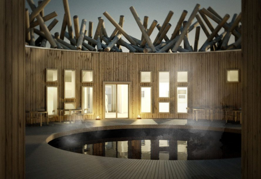Arctic Bath Hotel and Spa, Off the Map Travel, floating hotel, Sweden, floating architecture, circular building, green architecture, locally available materials, timber, sauna, spa, green hotel