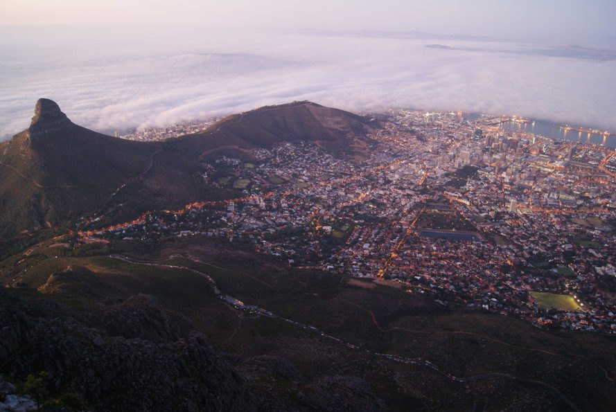 Cape Town, Lion's Head, South Africa, Africa, city, mountain, fog