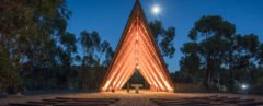 Chapel, tents, Portugal, Plano Humano Arquitectos, wooden beams, National Scout´s Activities Camp (CNAE), tiny building, green architecture, natural building materials, gable roof, panoramic views