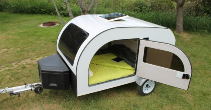 The Droplet is a light-filled teardrop trailer inspired by