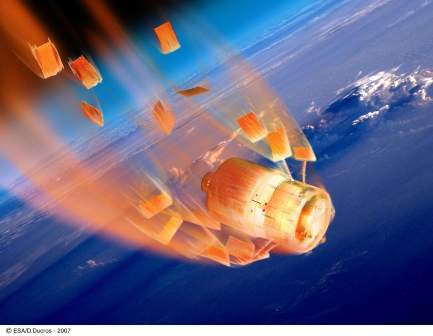 European Space Agency, re-entry, burning, spacecraft, automated transfer vehicle, space, atmosphere