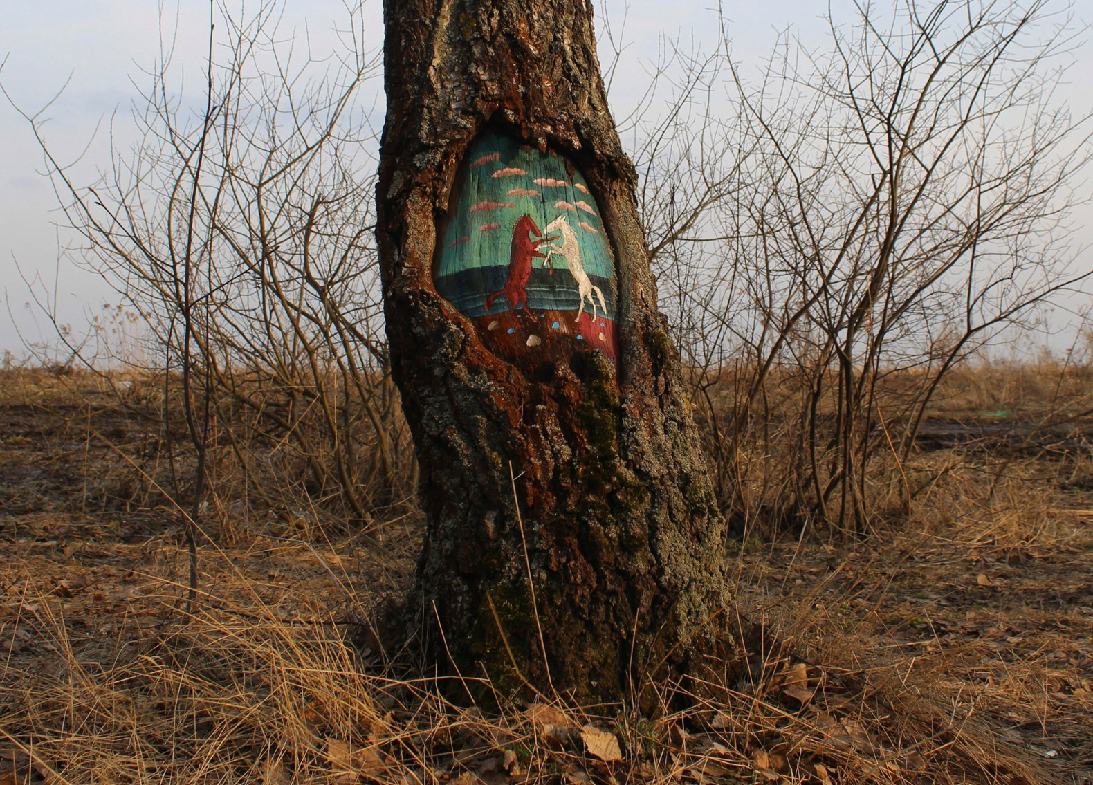 Russian artist paints magical fairytale artworks onto tree trunks