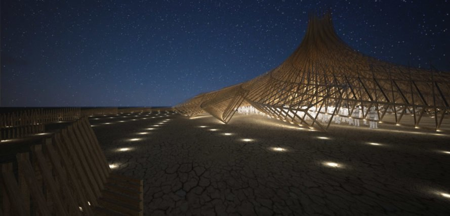 Galaxia by Arthur Mamou-Mani, Burning Man 2018, Burning Man Mamou-Mani, Burning Man 2018 temple, 3D printing Burning Man, 3D printed mandala, timber modules for architecture at burning man, burning man arts