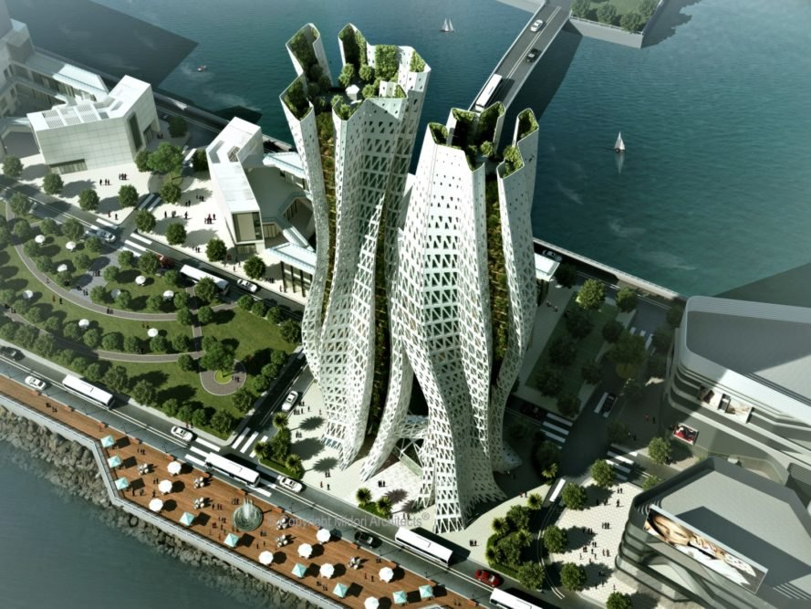 Translucent 39 hugging 39 towers could help clean hong kong 39 s for Sustainable design architecture