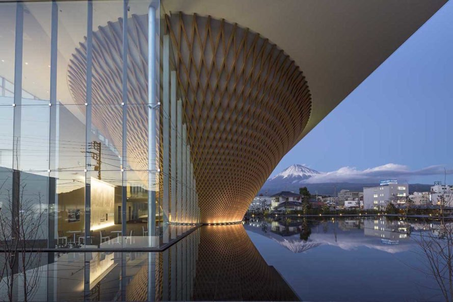Mt Fuji World Heritage Center by Shigeru Ban, Mt Fuji World Heritage Center, Mt Fuji World Heritage Center Fujinomiya, Mt Fuji World Heritage Center Shizuoka, Shigeru Ban Fuji building, latticed timber cone architecture, mount fuji architecture