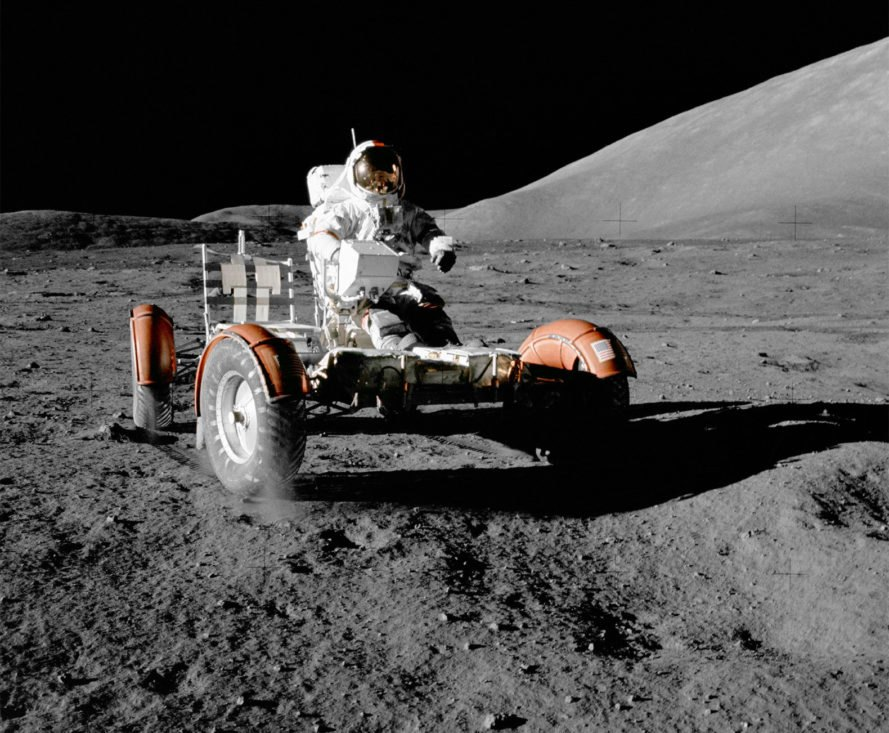 NASA, Moon, Apollo 17, Eugene Cernan, Lunar Roving Vehicle, moon landing, space
