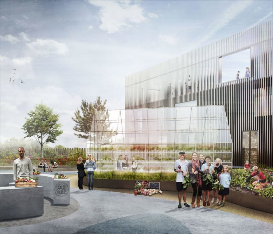 New Islands Brygge School by C.F. Moller Architects, New Islands Brygge School, Danish low energy code 2020, Copenhagen new school architecture, Copenhagen food and physical activity school, schools that teach kids how to grow and cook food, schools urban gardening, school rooftop garden