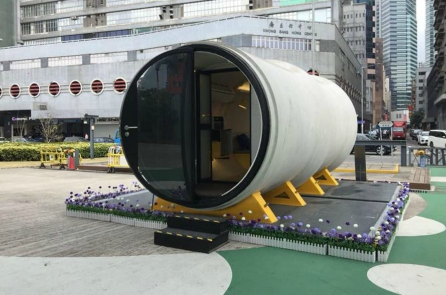 James Law, OPod, concrete tube housing unit, opod tube housing, tube housing hong kong, chinese architecture, micro living affordable home, affordable housing, micro housing, concrete tubes, concrete tube homes, pod homes, micro housing design, green design, green architecture, concrete architecture